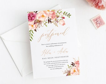Peonies Editable Change of Plans, Pink Rose Gold Boho Postponed Wedding Announcement Template, Postponement Evite, Instant Download, 516-A