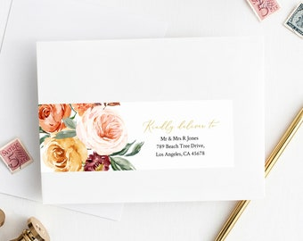 Fall Editable Wrap Around Address Label Template, Gold Blush Orange Floral Printable Envelope Address Label, Templett Instant Download 540-A