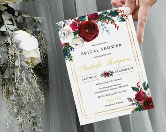 Editable Cranberry Gold Floral Bridal Shower Invitation, Christmas Invite DIY Template, Printable, Winter, Instant Download, 543-A