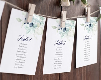 Navy Silver Gray Hanging Table Cards, Winter Editable Seating Chart Template, Blue Grey Floral Table Seating Plan, Instant Download, 544-A
