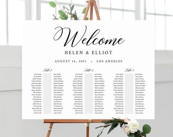 Banquet Editable Seating Chart, Minimal Modern Wedding Printable Table Plan, 18 x 24 24 x 36, A1 A2, Minimalist Template, Download, 557-A