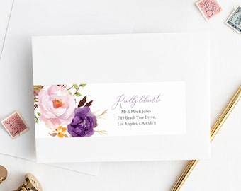 Boho Purple Editable Wrap Around Address Label Template, Printable Violet Lilac Envelope Address Label, DIY Addresses Instant Download 530-A