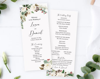 Editable Winter Rustic Wedding Program, Evergreen Pine Foliage Program, White Floral Printable Program Template, Download Templett 569-A