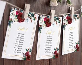 Cranberry Gold Editable Seating Chart Template, Burgundy Hanging Table Cards, Christmas Table Seating Plan, Holly Fir Instant Download 543-A