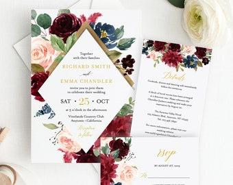 Burgundy Navy Gold Floral Editable Wedding Invitation Suite, Merlot Floral RSVP Details, Printable Template, Instant Download Templett 520-A