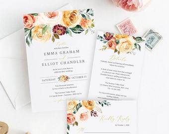 Fall Golden Floral Editable Wedding Invitation Suite, Gold Blush Floral RSVP Details, Printable Template, Instant Download, Templett 540-A