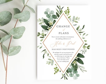 Greenery Rose Gold Editable Change of Plans, Postponed Wedding Announcement Template, Postponement Evite Cancel Instant Download, 528-A