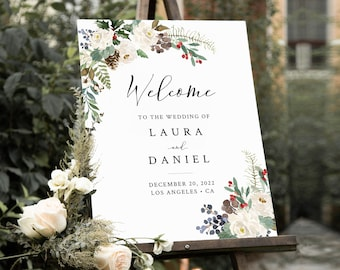Editable Winter Wedding Welcome Sign, Rustic Shower Sign, Unlimited Custom Signs, 16 x 20 18 x 24 24 x 36, Template Instant Download 569-A