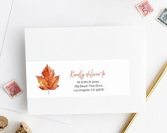 Editable Fall Maple Leaf Wrap Around Address Label Template, Burnt Orange Printable Envelope Label, DIY Addresses, Instant Download 567-A