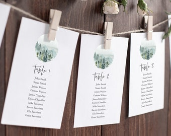 Rustic Woodland Mountains Editable Seating Chart Template, Hanging Table Cards, Outdoors Forest Table Seating Plan, Instant Download, 531-A