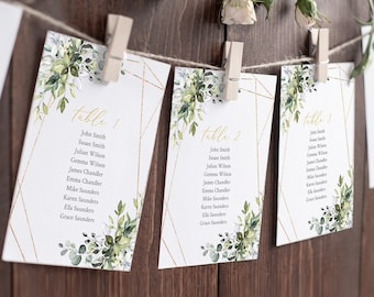 Botanical Hanging Table Cards Template, Greenery Gold Geometric Editable Seating Chart, Foliage Table Seating Plan, Instant Download, 538-A