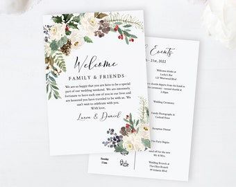 Winter Editable Welcome Bag Letter Itinerary, White Floral Wedding Timeline Rustic Printable Order of Events Template Instant Download 569-A