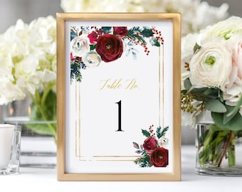 Printable Christmas Table Numbers, Burgundy Floral Editable Table Numbers, Winter, Cranberry DIY Template, Instant Download, Templett 543-A