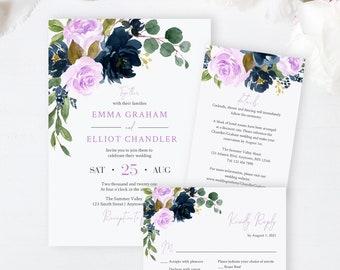 Editable Navy Lilac Floral Wedding Invitation Suite, Lavender Navy RSVP Details, Printable Template, Purple Boho, Instant Download, 556-A