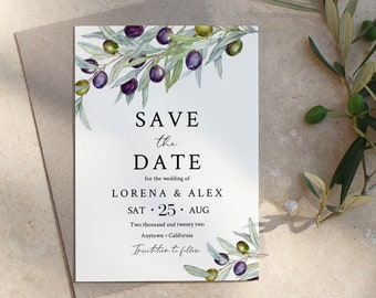 Editable Olive Save the Date, Rustic Olive Branch Printable Save Date DIY Template, Italian Save our Date, Olive Tree Instant Download 563-A