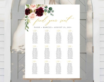 Editable Blush Burgundy Gold Table Plan, Floral Wedding Printable Seating Chart, 18 x 24 24 x 36, A1 A2, Template, Instant Download, 574-A