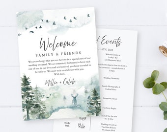 Editable Rustic Welcome Bag Letter Itinerary, Forest Wedding Timeline, Stag Pine Printable Order of Events Template Instant Download 570-A