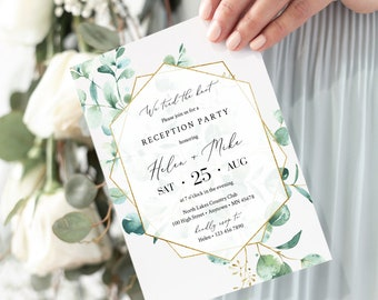 Editable Reception Party Invitation, Eucalyptus Geometric Green Gold After Party Elopement Template, We Tied the Knot Instant Download 533-A