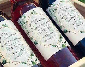 Eucalyptus Geometric Editable Wine Bottle Labels, Full Size Wine Bottle Label, Gold Green DIY Template, Printable, Instant Download 533-A