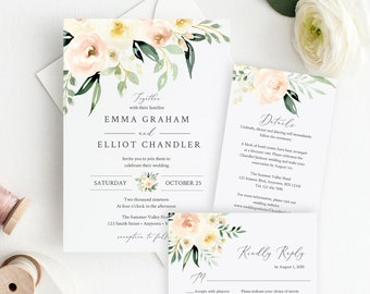 Ivory Blush Greenery Floral Editable Wedding Invitation Suite, RSVP Details, Pale Pink Printable, Template, Instant Download Templett 536-A