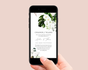 Orchid Floral Editable Change of Plans, Protea Postponed Wedding Date Template, Digital Text Message Social Media Instant Download 546-A