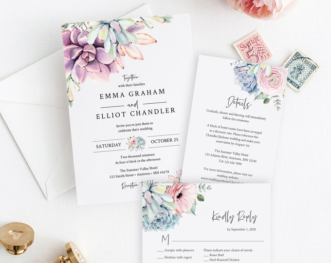 Featured listing image: Editable Wedding Invitation Suite, Succulent Lilac Green Blush RSVP Details Cactus Desert Printable Template Instant Download Templett 535-A