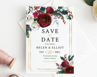 Burgundy Gold Editable Save the Date, Cranberry Printable Save the Date DIY Template, Holly, Fir, Christmas, Instant Download, 543-A