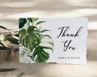 Printable Monstera Thank You Cards Tropical Greenery Editable Thank You Card Template Palm Botanical Foliage Instant Download Templett 550-A