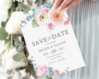 Eucalyptus Succulent Peonies Editable Save the Date, Southwestern Boho Printable Save the Date DIY Template, Floral, Instant Download, 554-A