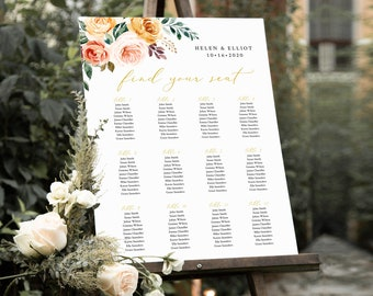 Greenery Gold Blush Floral Editable Table Plan, Fall Boho Printable Seating Chart, 18 x 24 24 x 36, A1 A2, Template, Instant Download, 540-A