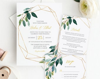 Green Gold Geometric Editable Wedding Invitation Suite, Botanical RSVP Details Printable Template, Greenery Instant Download, Templett 504-A