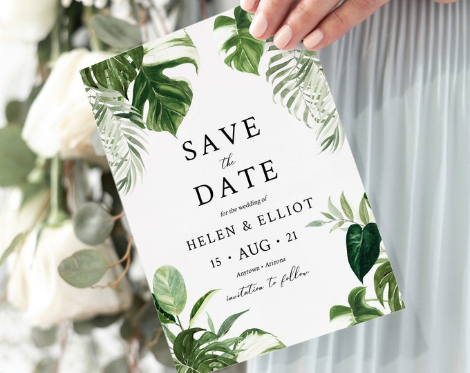 Featured listing image: Editable Monstera Save the Date, Printable Save the Date DIY Template, Tropical Foliage Greenery Botanical, Palm Leaf Instant Download 550-A