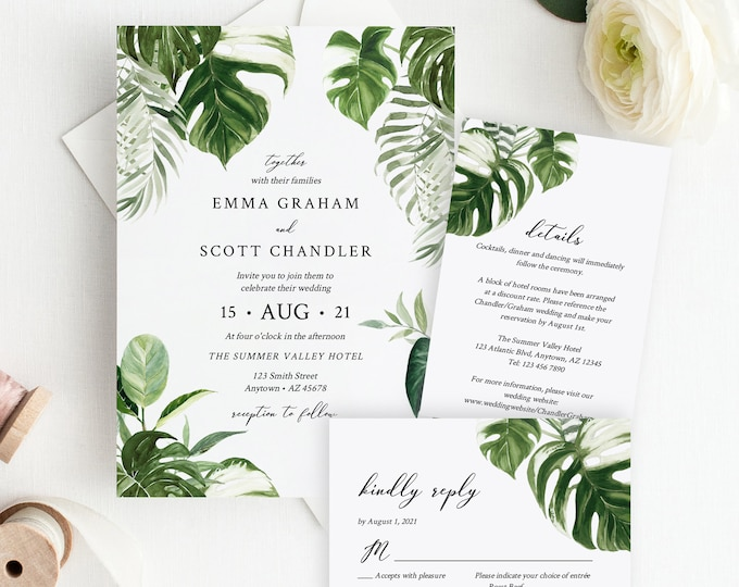 Featured listing image: Editable Monstera Wedding Invitation Suite, Tropical Greenery RSVP Details, Tropical Foliage Palms Printable Template Instant Download 550-A