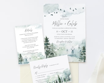 Editable Rustic Forest Wedding Invitation Suite, Deer Stag RSVP Details, Woodland Pine Printable Template, Instant Download, Templett 570-A