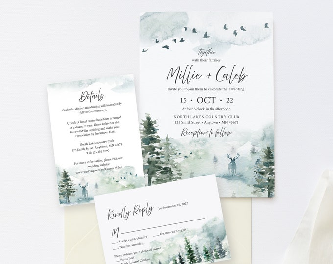 Featured listing image: Editable Rustic Forest Wedding Invitation Suite, Deer Stag RSVP Details, Woodland Pine Printable Template, Instant Download, Templett 570-A