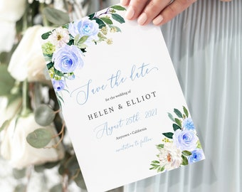Blue White Green Floral Editable Save the Date, Boho Printable Save the Date DIY Template, Cornflower Blue, Instant Download 547-A