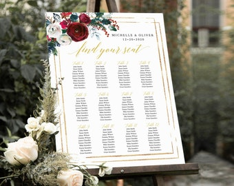 Christmas Printable Seating Chart, Cranberry Gold Green Floral Editable Table Plan, 18 x 24 24 x 36, A1 A2, Template, Instant Download 543-A