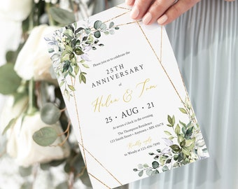 Foliage Gold Geometric Editable Anniversary Party Invitation, Greenery 25th 30th 40th 50th Anniversary DIY Template, Instant Download 538-A
