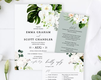 Editable Orchid Protea Wedding Invitation Suite, Tropical Floral Greenery RSVP Details White Green Printable Template Instant Download 546-A