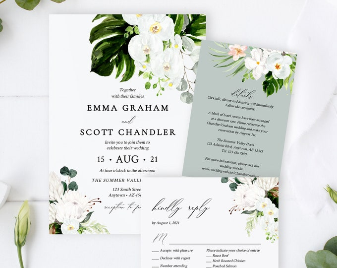 Featured listing image: Editable Orchid Protea Wedding Invitation Suite, Tropical Floral Greenery RSVP Details White Green Printable Template Instant Download 546-A