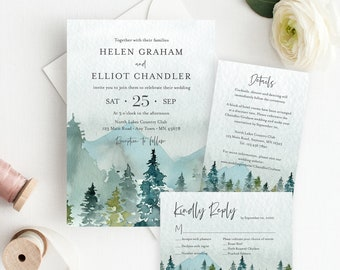Outdoors Mountains Editable Wedding Invitation Suite, Rustic RSVP Details, Woodland Printable Template, Instant Download, Templett 531-A