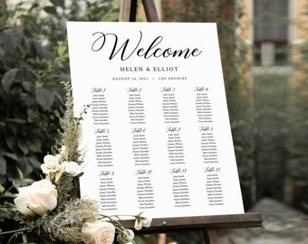 Editable Minimal Modern Seating Chart, Simple Wedding Printable Table Plan, 18 x 24 24 x 36, A1 A2, Minimalist Template, Inst Download 557-A