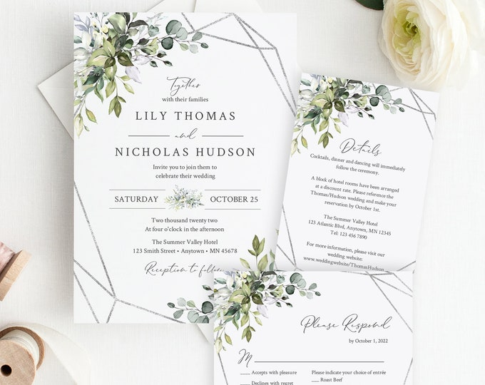 Featured listing image: Greenery Silver Geometric Editable Wedding Invitation Suite, Botanical RSVP Details, Printable Template, Foliage, Instant Download, 568-A