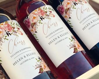 Pink Peonies Editable Wine Bottle Labels, Full Size Wine Bottle Label,Rose GOld Blush Green DIY Template, Printable, Instant Download 516-A