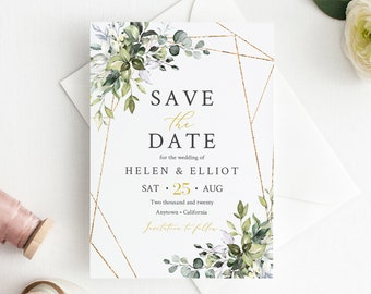Foliage Botanical Save the Date, Greenery Gold Geometric Editable Save our Date, Printable DIY Template, Instant Download, 538-A