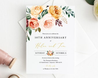 Golden Floral Editable Anniversary Party Invitation, Blush Green Boho 25th 30th 40th 50th Anniversary DIY Template, Instant Download 540-A