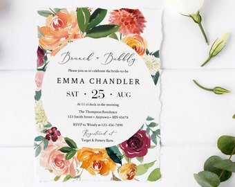 Burgundy Burnt Orange Floral Editable Brunch & Bubbly Invitation, Fall Invite DIY Template, Printable, Foliage Instant Download 534-A