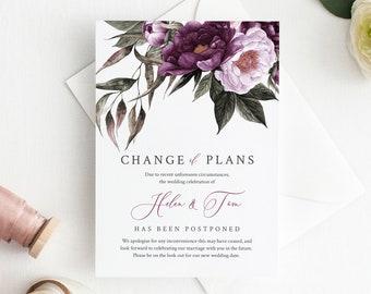 Plum Lavender Editable Change of Plans, Purple Floral Postponed Wedding Announcement Template, Postponement Evite, Instant Download, 527-A