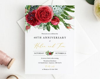 Editable Fern Red Rose Anniversary Party Invitation, Gold Red Greenery 25th 30th 40th 50th Anniversary DIY Template, Instant Download 541-A