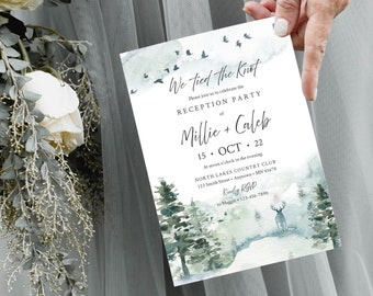 Editable Forest Rustic Reception Party Invitation, Woodland After Party Elopement DIY Template, Stag We Tied the Knot Instant Download 570-A
